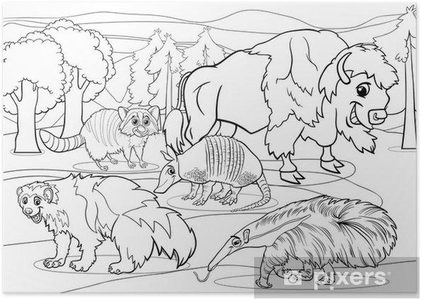 Póster Mamíferos animales para colorear de dibujos animados • Pixers ...