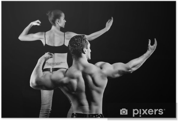 man and a woman in the gym Poster