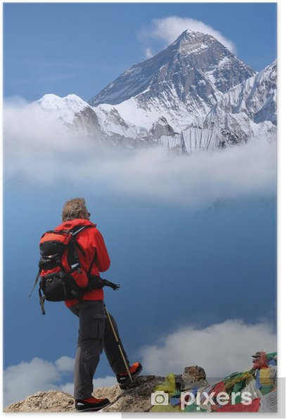 Man in front of Mt Everest, Nepal Poster - Asia
