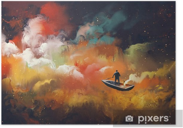 man on a boat in the outer space with colorful cloud,illustration Poster - Hobbies and Leisure