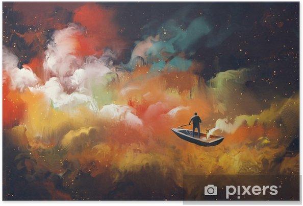 Poster Man op een boot in de ruimte met kleurrijke wolk, illustratie - Hobby's en Vrije tijd