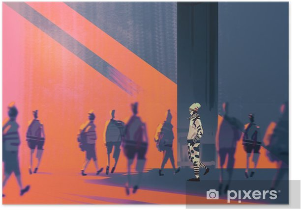 man walking to different way,unique concept,illustration Poster - People