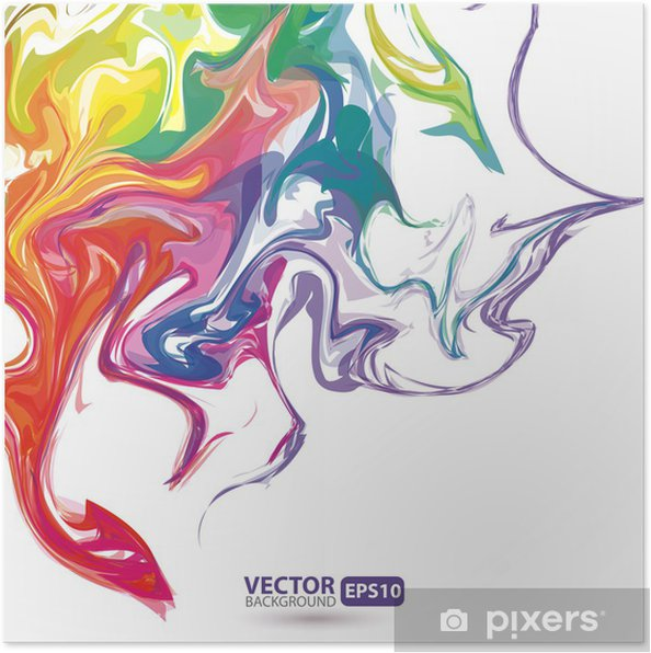 Póster Manchas de colores de pintura de fondo abstracto - Fondos