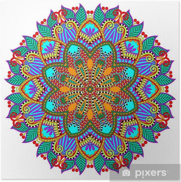 Poster Mandala, cirkel decoratief geestelijke Indiase symbool van lotus - Muursticker