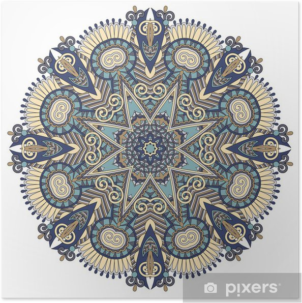 Poster Mandala, cirkel decoratief spirituele Indiase symbool van lotus stroom - Muursticker