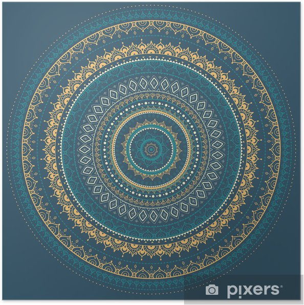 Poster Mandala. Indiase decoratief patroon. - Stijlen