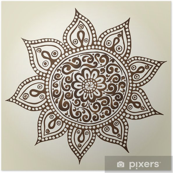 Poster Mandala. Round ornement. Fleurs ornementales. - Abstraction