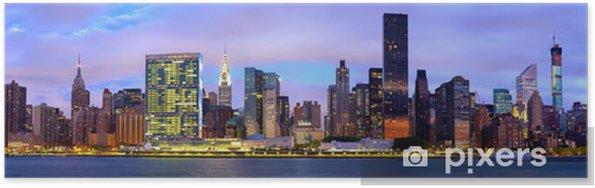 Poster Manhattan Midtown skyline panorama avant le lever du soleil, New York - Thèmes