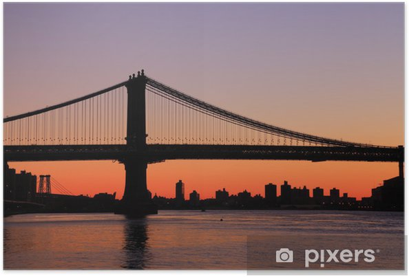 Poster Manhattan pont Sunrise toits de New York - Sur la route