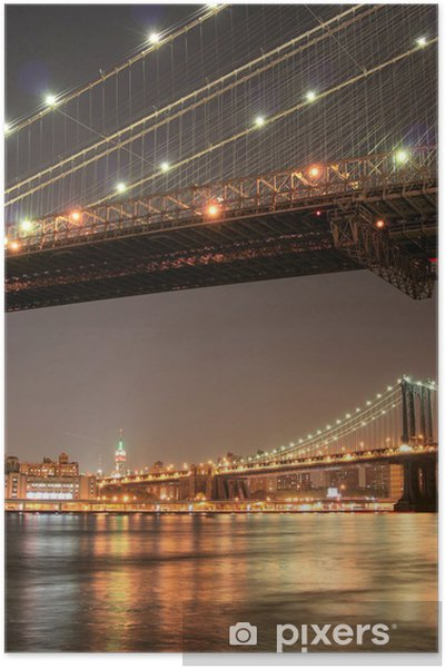 Poster Manhattan skyline at night - Villes américaines