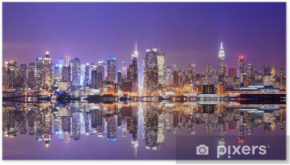 Póster Manhattan Skyline con reflexiones -
