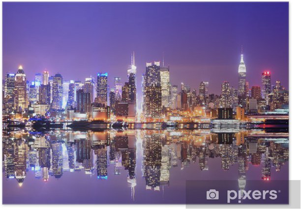 Manhattan Skyline with Reflections Poster -