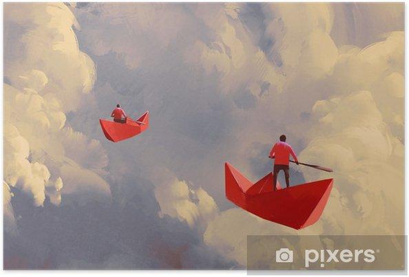 Poster Mannen op origami rode papieren boten drijvend in de bewolkte hemel, illustratie schilderij - Hobby's en Vrije tijd