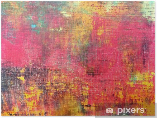 Póster Mano abstracto colorido lienzo pintado textura de fondo - Hobbies y entretenimiento