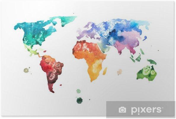 Póster Mano acuarela dibujada ilustración de mapa del mundo de la acuarela. - Hobbies y entretenimiento
