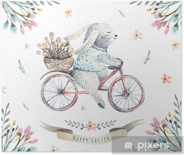 Póster Mano dibujar conejitos de dibujos animados acuarela de Pascua ...