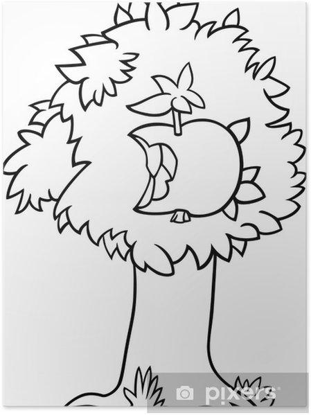 Póster Manzana mordisqueada en la página para colorear árbol ...