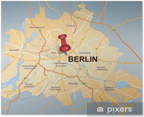 Map Of Berlin With Red Push Pin Poster Pixers We Live To Change