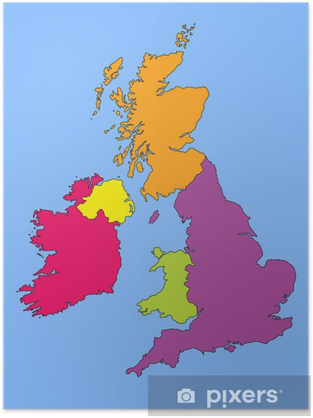 Map Of Ireland Poster.Map Of Great Britain And Ireland Poster Pixers We Live To Change
