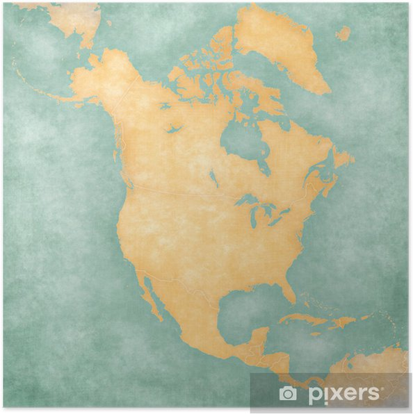 Map of North America – Blank Map (Vintage Series) Poster • Pixers ...