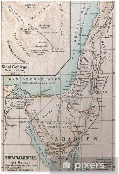 Map of Sinai Peninsula. The Bible. Germany, 1895 Poster