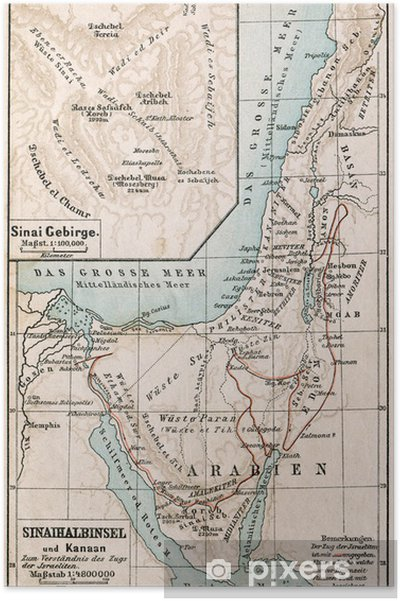 Map of Sinai Peninsula. The Bible. Germany, 1895 Poster