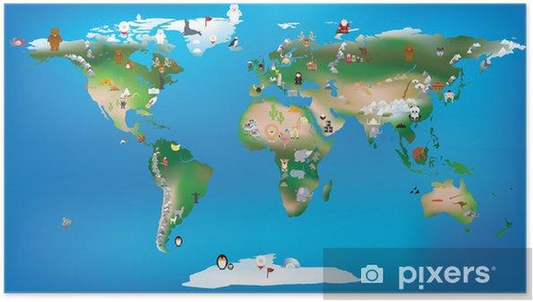 Póster Mapa del mundo para niños que utilizan los dibujos animados de animales y famosa lan - Destinos