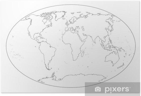 Cartina Mondo Vuota.Mappa Del Mondo In Bianco E Nero Vuota Poster Pixers We Live To Change