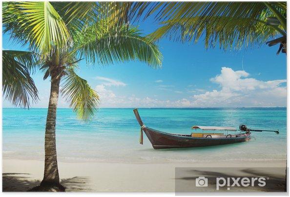 Póster Mar, palmeras y cocoteros barco - Temas
