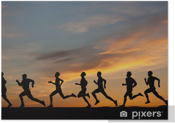Marathon, black silhouettes of runners on the sunset Poster - Themes