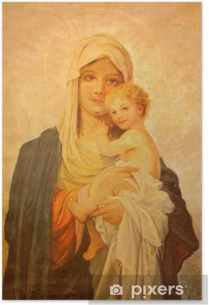 MARIANKA, SLOVAKIA - DECEMBER 4, 2012: The painting of Madonna by J. Balogh (20. cent.) in parish building of Marianka. Poster - Buildings and Architecture