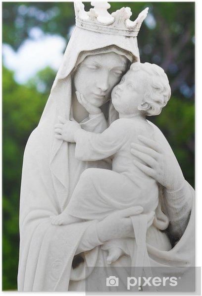 Poster Marie portant l'enfant Jésus statue - Religion