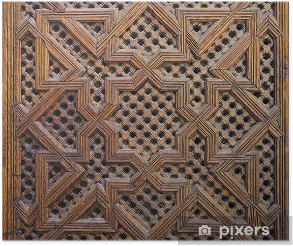 Poster Marokkaanse Cederhout Arabesque Carving - Afrika