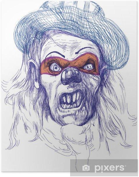 Poster Masque effrayant (dessin) - Divertissements