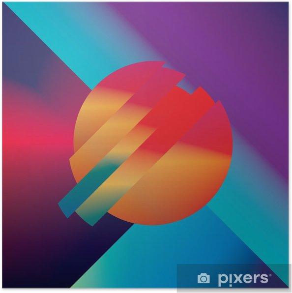 Poster Materiaal ontwerp abstracte vector achtergrond met geometrische isometrische vormen. Levendig, helder, glanzend kleurrijk symbool voor behang. - Grafische Bronnen