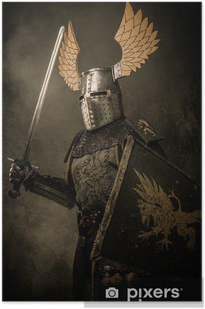 Poster Medeltida knigh med ett svärd - Riddare