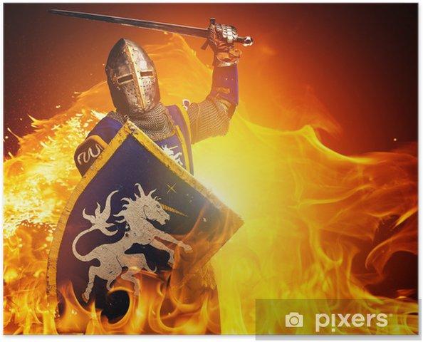 Poster Medeltida riddare i attack position på brand bakgrund. - Riddare