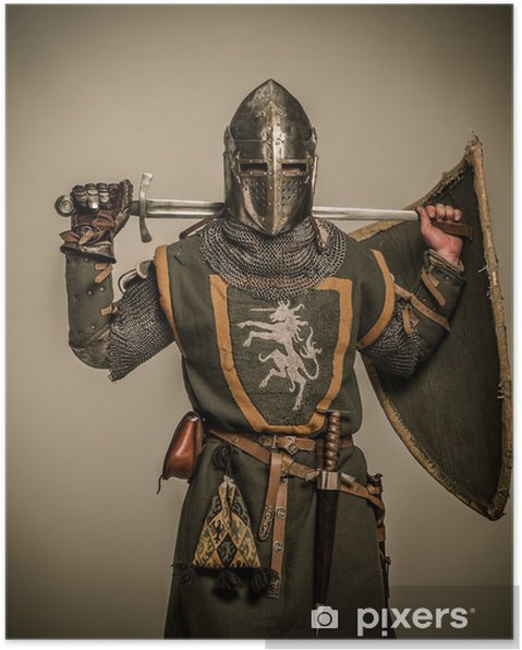 Poster Medeltida riddare med ett svärd - Riddare