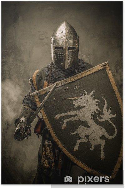 Poster Medeltida riddare med svärd och sköld mot stenmur - Riddare