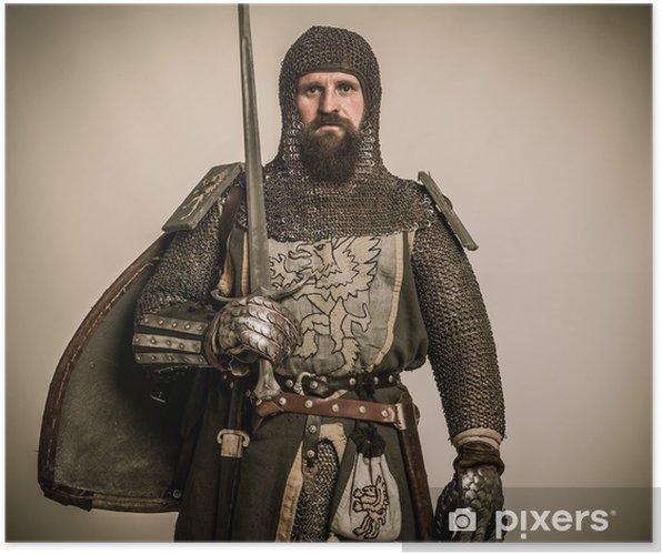 Poster Medeltida riddare med svärd och sköld - Riddare