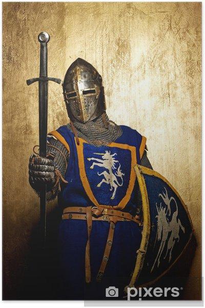 Poster Medeltida riddare på guld-bakgrund. - Riddare