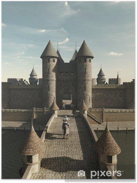 Poster Medeltida riddare rider till slottet Gate - Riddare
