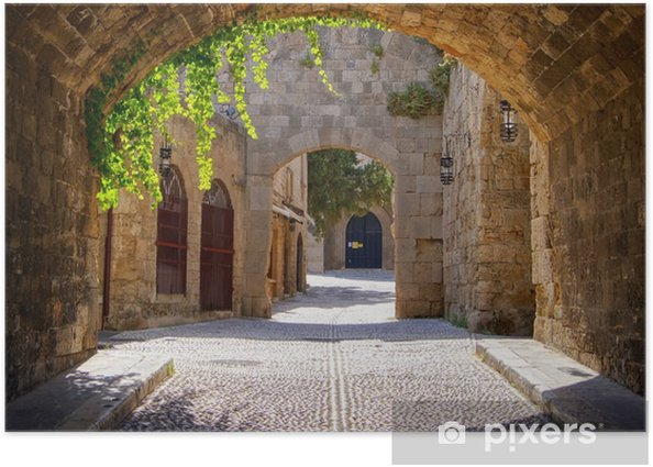 Medieval arched street in the old town of Rhodes, Greece Poster - Styles