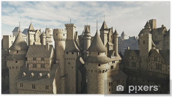 Medieval or fantasy town rooftops Poster
