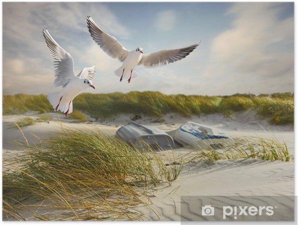 Poster Meeuwen, duinen en vissersboten - Zomer