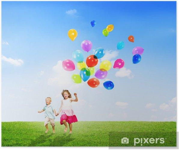 58482085f0d3d3 Poster Meisje en jongen in openlucht Ballons van de Holding • Pixers ...