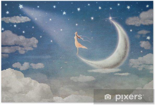Poster Meisje op maan bewondert de nachtelijke hemel - illustratie kunst - Gevoelens, Emoties en Staten van Geest
