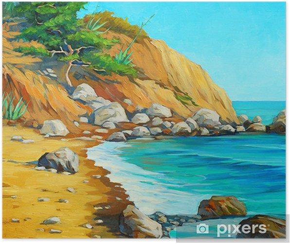 Poster Mer Méditerranée avec une plage et la baie, peinture à l'huile sur boîte - Art et création