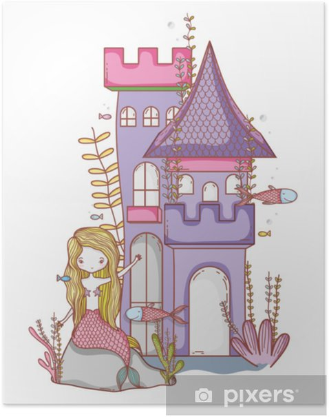 Mermaid on castle cute cartoon Poster - Graphic Resources