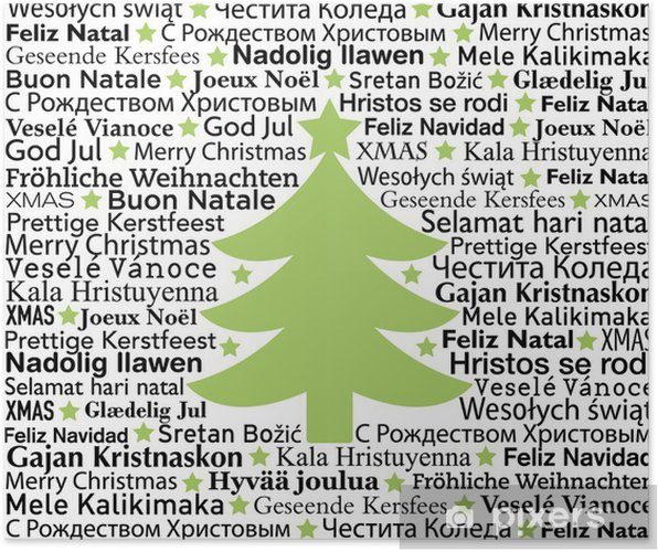 Merry Christmas In Different Languages.Merry Christmas In Different Languages Typographic Background Poster